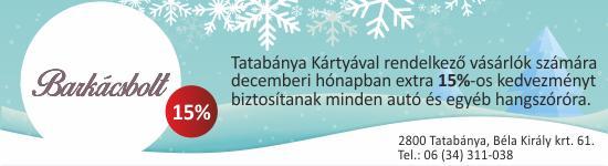 Tatabánya Kártyával rendelkező vásárlóink számára decemberi hónapban extra  15%-os kedvezményt biztosítunk minden autó és ... 39e8748ca0